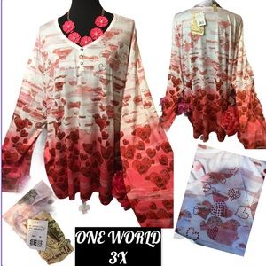 NWT OneWORLD 3X Floating Red Hearts Top